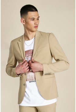 Chaqueta skinny con botonadura simple color camel