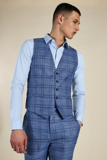 Blue Skinny Check Double Breasted Waistcoat