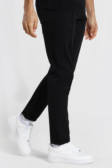 Black Tall Slim Leg Cropped Trouser