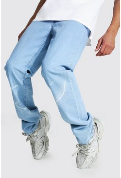 Ice blue Tall Relaxed Fit Lightning Print Jean