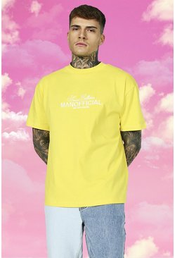 Yellow Oversized Extended Neck Embroidered T-shirt