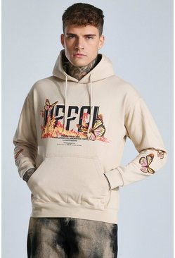 Sand beige Offcl Butterfly Graphic Hoodie