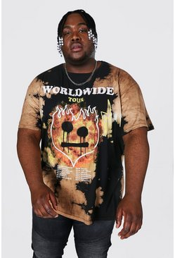 Black Plus Size Loose Fit Flames Tie Dye T-shirt