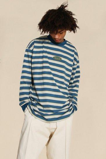 Blue Oversized Worldwide Ls Stripe T-shirt