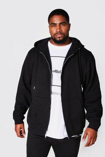 Black Plus Recycled Zip Through Hoodie