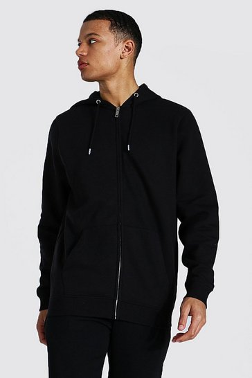 Black Tall Recycled Regular Fit Zip Through Hoodie