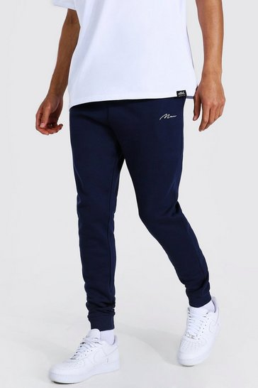 Navy Tall Recycled MAN Script Skinny Fit Jogger