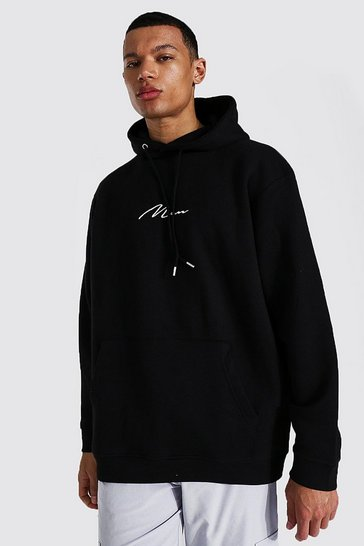 Black Tall Recycled Man Script Oversized Hoodie