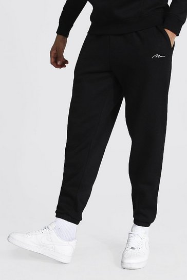 Black Tall Recycled Man Script Loose Fit Jogger