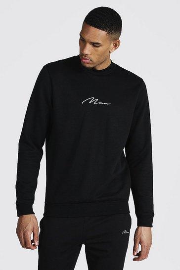 Black Tall Recycled MAN Script Sweater