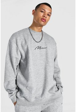 Grey marl grey Tall Recycled MAN Script Oversized Sweater