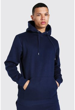 Tall Regular Fit Recycled Hoodie, Navy marineblau