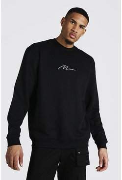 Black Tall Man Sig Oversized Recycled Sweatshirt