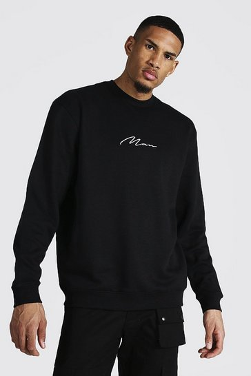 Black Tall Recycled MAN Script Oversized Sweater