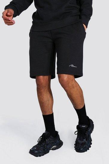 Black Tall Recycled MAN Script Jersey Short
