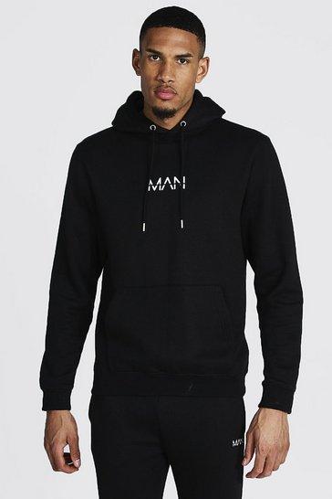 Black Tall Recycled MAN Dash Regular Fit Hoodie