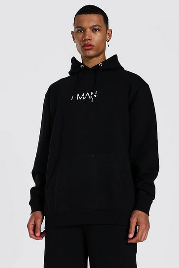 Black Tall Recycled MAN Dash Oversized Hoodie