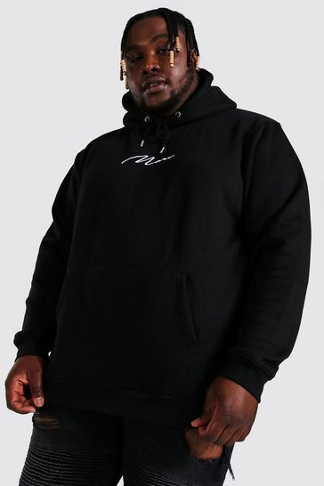 Black Plus Man Script Regular Recycled Hoodie