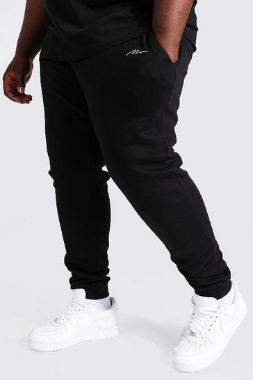 Black Plus Man Script Slim Fit Recycled Jogger
