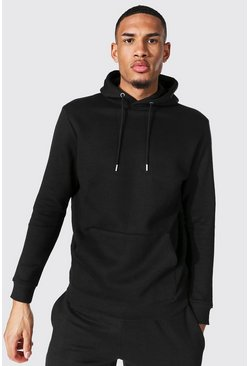 Tall Regular Fit Recycled Hoodie, Black schwarz