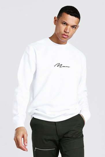White Tall Recycled MAN Script Sweater
