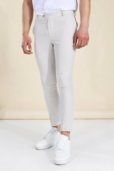 Beige Super Skinny Pinstripe Trouser