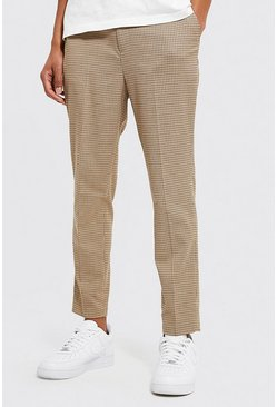 Tapered Dogtooth Brown Trousers
