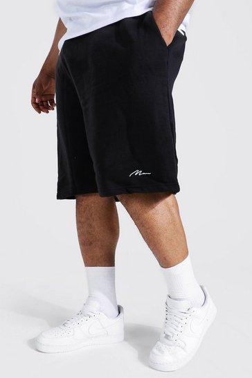 Black Plus Recycled MAN Script Loose Jersey Short