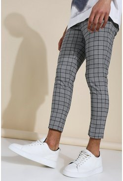 Super Skinny Black Check Crop Trouser