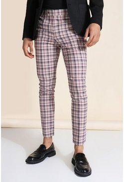 Super Skinny Beige Check Pants