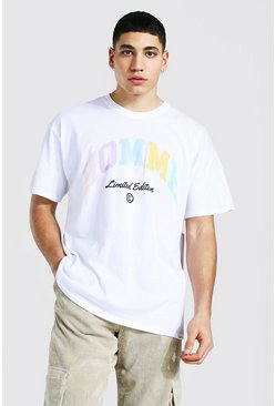 White Oversized Homme Print T-shirt