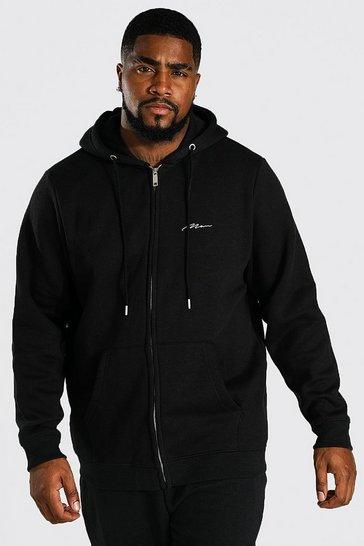 Black Plus Recycled MAN Script Zip Hoodie