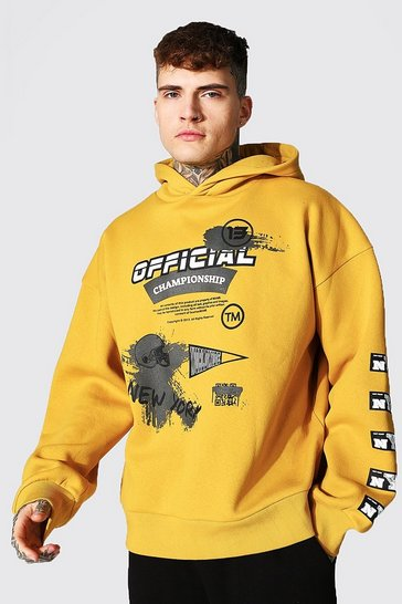 Yellow Oversized Official Man Varsity Hoodie