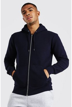 Navy Basic Zip Through Fleece Hoodie