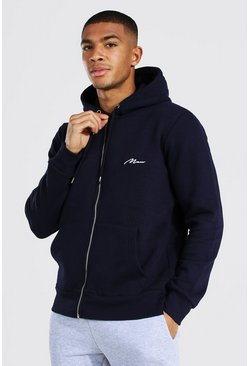 Navy MAN Signature Zip Through Fleece Hoodie
