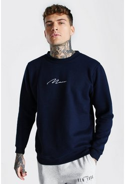 Navy Man Signature Embroidered Sweater