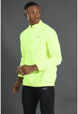 Neon-yellow yellow Man Active 1/4 Zip Funnel Neck Windbreaker