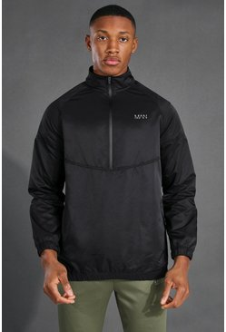 Black Man Active 1/4 Zip Funnel Neck Windbreaker