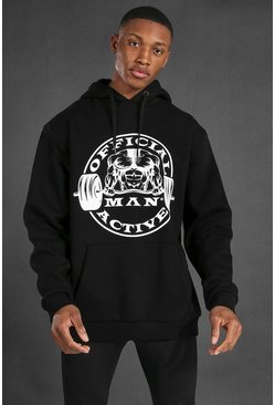 Black Man Active Oversized Hoodie With Large Logo