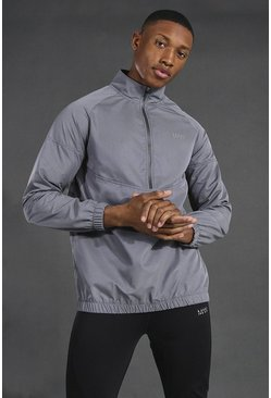 Charcoal grey Man Active 1/4 Zip Funnel Neck Windbreaker