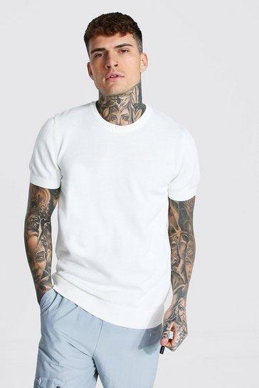 White Basic Knitted T-shirt