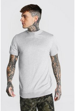 Grey marl grey Short Sleeve Turtle Neck Knitted T-shirt