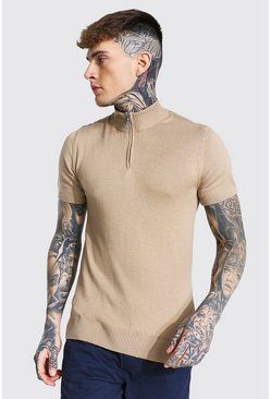 Stone beige Short Sleeve Half Zip Turtle Neck T-shirt
