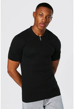 Black Short Sleeve Muscle Fit Half Zip Knitted Polo