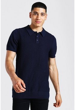 Navy Short Sleeve Regular Fit Textured Knit Polo