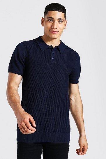 Navy Short Sleeve Regular Fit Textured Knit Polo