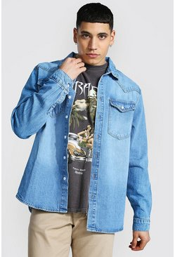 Mid blue blue Regular Long Sleeve Western Denim Shirt