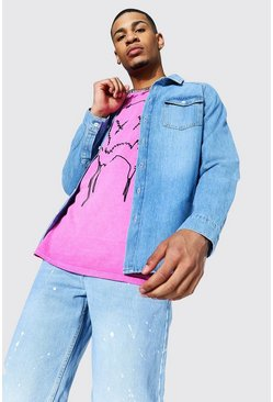 Regular Raglan Denim Shirt, Mid blue azzurro