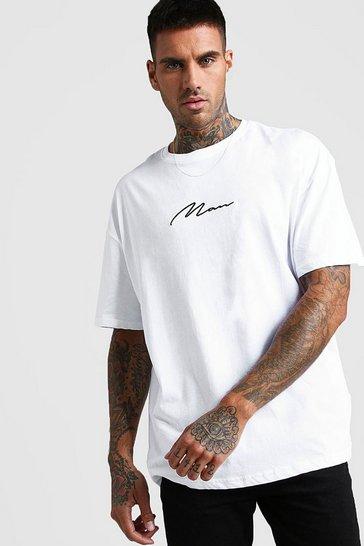 White Oversized MAN Signature T-Shirt
