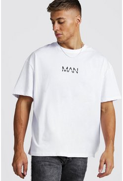 White Oversized Original MAN Print T-Shirt